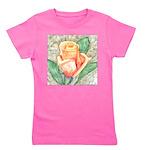 Peach Rose Watercolor Girl's Tee