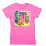 Cat and Moon Watercolor Girl's Tee