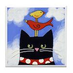 Black CAT With 2 Birds ART Tile/Coaster