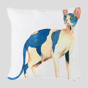 Sphynx Cat Woven Throw Pillow