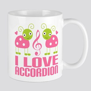 I Love Accordion Ladybug Mug