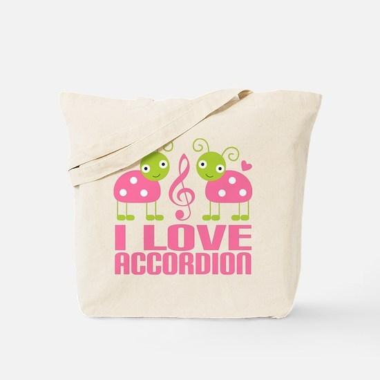 I Love Accordion Ladybug Tote Bag
