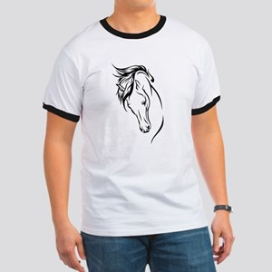 Line Drawn Horse Head Ringer T