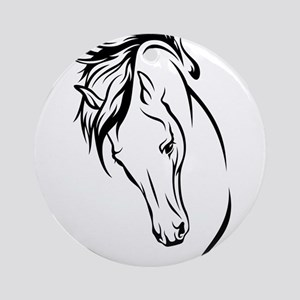 Line Drawn Horse Head Ornament (Round)