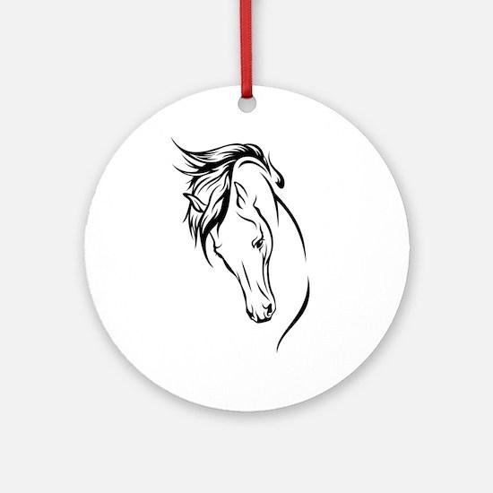 Line Drawn Horse Head Ornament (Round)