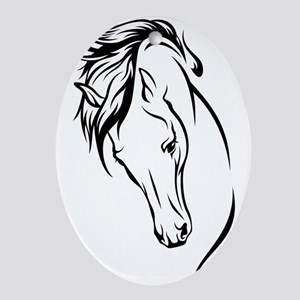 Line Drawn Horse Head Ornament (Oval)