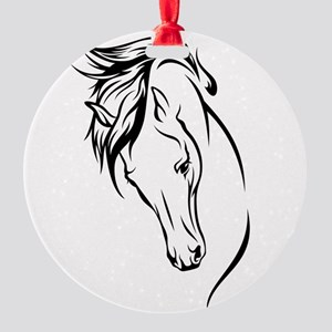 Line Drawn Horse Head Round Ornament
