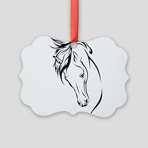 Line Drawn Horse Head Picture Ornament