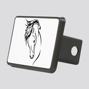 Line Drawn Horse Head Rectangular Hitch Cover