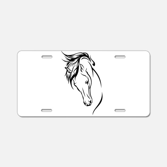 Line Drawn Horse Head Aluminum License Plate