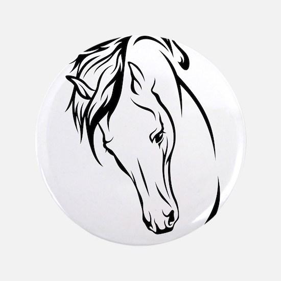 Line Drawn Horse Head Button