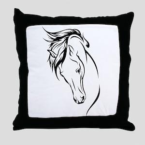 Line Drawn Horse Head Throw Pillow