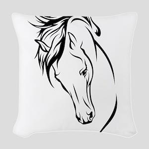 Line Drawn Horse Head Woven Throw Pillow