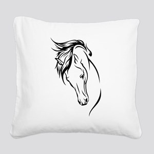 Line Drawn Horse Head Square Canvas Pillow