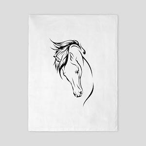Line Drawn Horse Head Twin Duvet