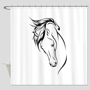 Line Drawn Horse Head Shower Curtain