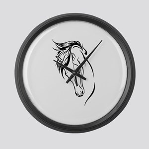 Line Drawn Horse Head Large Wall Clock