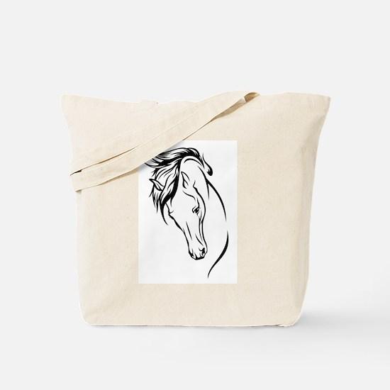 Line Drawn Horse Head Tote Bag