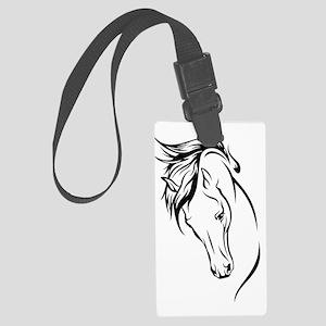 Line Drawn Horse Head Large Luggage Tag