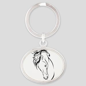 Line Drawn Horse Head Oval Keychain