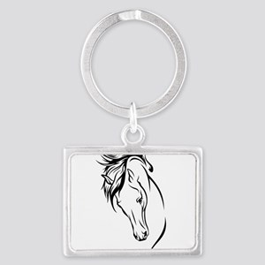 Line Drawn Horse Head Landscape Keychain