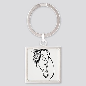 Line Drawn Horse Head Square Keychain