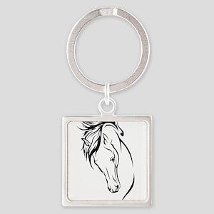 Line Drawn Horse Head Square Keychain