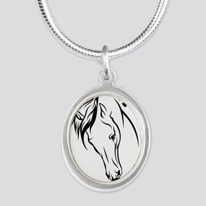 Line Drawn Horse Head Silver Oval Necklace