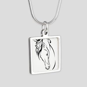 Line Drawn Horse Head Silver Square Necklace