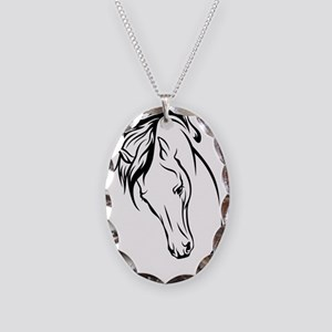 Line Drawn Horse Head Necklace Oval Charm