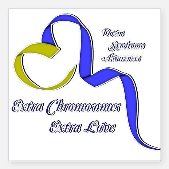 Down Syndrome Awareness Ribbon Square Car Magnet 3
