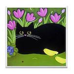 Black CAT, Flowers, Birds ART Tile