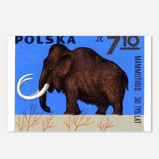 Vintage 1966 Poland Mammoth Postage Stamp Postcard
