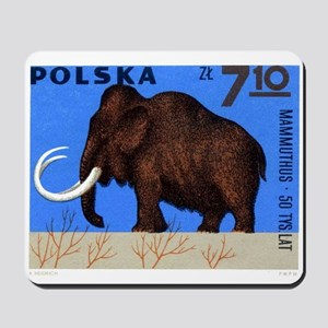 Vintage 1966 Poland Mammoth Postage Stamp Mousepad