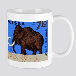 Vintage 1966 Poland Mammoth Postage Stamp Mug