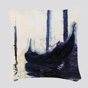 Monet Gondola in Venice Woven Throw Pillow