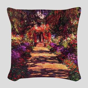 Path In Monet's Garden Woven Throw Pillow
