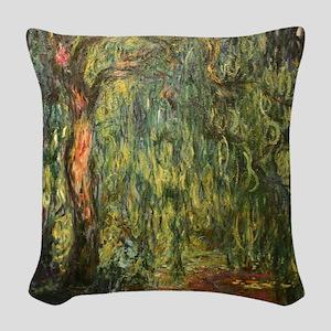 Claude Monet Weeping Willow Woven Throw Pillow