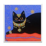 Black Moroccan CAT With Jewelry ART Tile