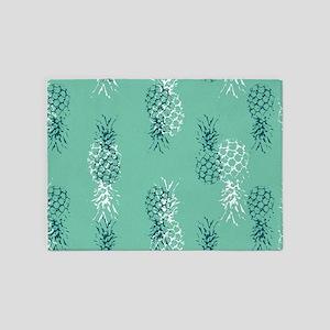 Tropical Pineapple on Aqua 5'x7'Area Rug