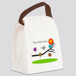 retired Math teacher retro birds Canvas Lunch Bag