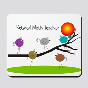 retired Math teacher retro birds Mousepad