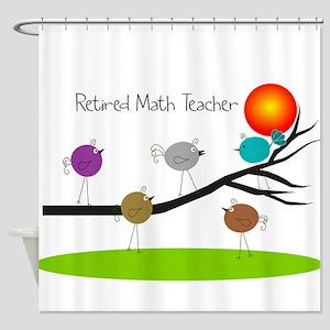 retired Math teacher retro birds Shower Curtain