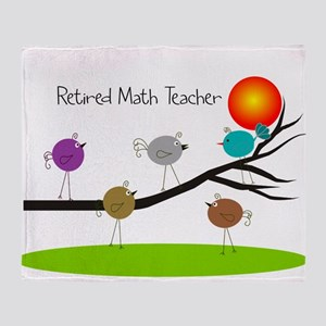 retired Math teacher retro birds Throw Blanket