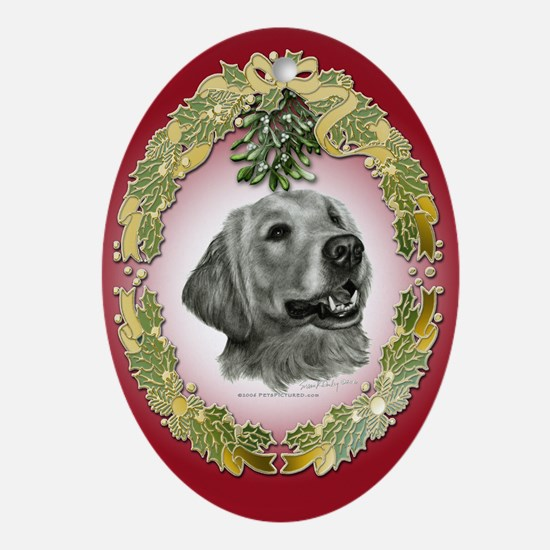 Golden Retriever Christmas Oval Ornament