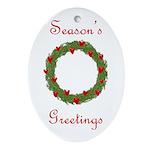 Christmas Wreath Oval Ornament