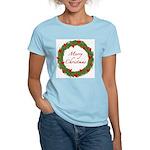 Christmas Wreath Women's Pink T-Shirt