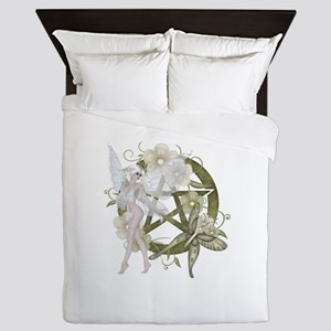 Beautiful fairy with pentacle Queen Duvet