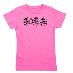 Cute Skulls And Crossbones Girl's Tee