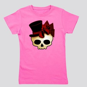 Cute Gothic Skull In Top Hat Girl's Tee